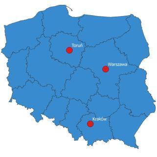 Toruń, Warszawa, Kraków - nasze lokalizacje